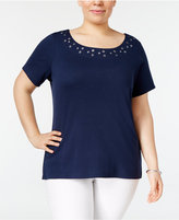 Karen Scott Plus Size Grommet T-Shirt, Only at Macy's