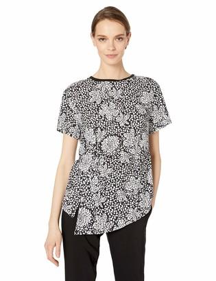 Nicole Miller Women's Printed Short Sleeve Top