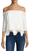 Plenty by Tracy Reese Cotton Partial Lace Blouse