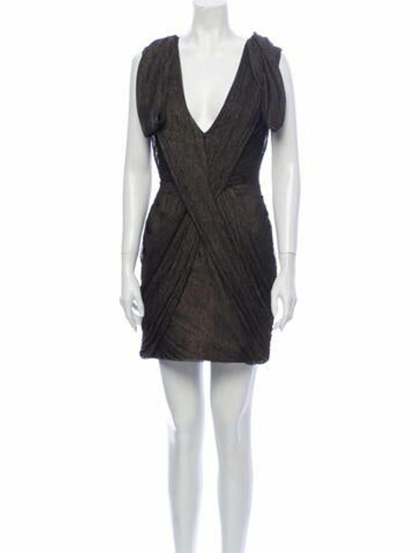 Matthew Williamson Silk Mini Dress Gold