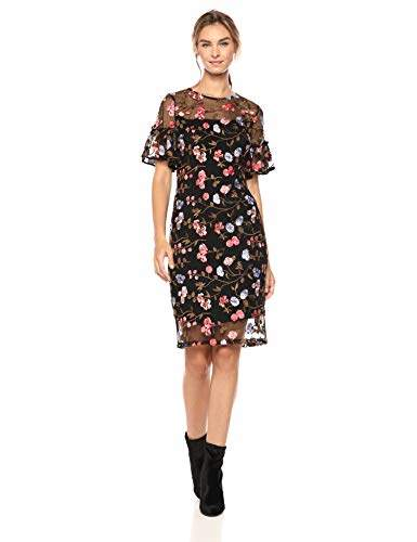 Calvin Klein Women's Flutter Sleeve Lace Embroidered Sheath