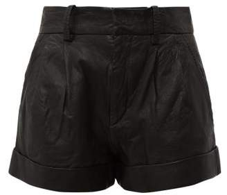 Etoile Isabel Marant Abot High-rise Washed-leather Shorts - Womens - Black