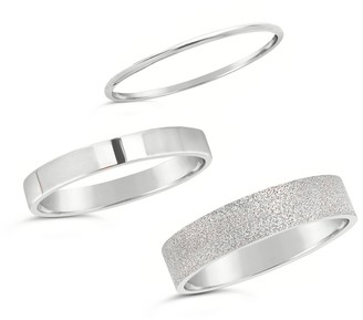 Sterling Forever Sterling Silver Textured Stacking Ring Set