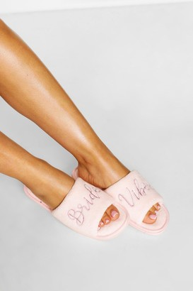 boohoo Bridal Embroidery Slippers
