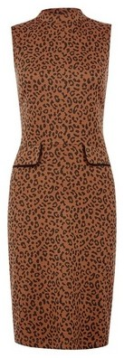 Dorothy Perkins Womens Brown Leopard Print Shift Dress, Brown