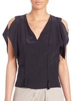 Elie Tahari Brielle Silk Cold-Shoulder Top