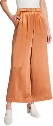 Co Wide-Leg Silk Charmeuse Pants