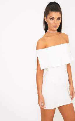 PrettyLittleThing Carley White Bardot Frill Bodycon Dress