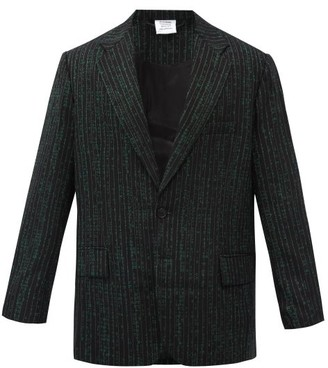 Vetements Jacquard-text Single-breasted Wool-blend Jacket - Green