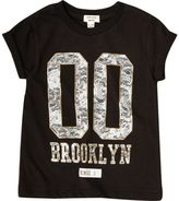 River Island Mini girls black Brooklyn T-shirt