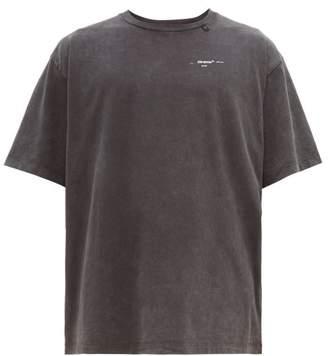 Off-White Off White Embroidered-logo Cotton T-shirt - Mens - Black White