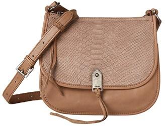 The Sak Playa Leather Saddle Bag (Mushroom Python Embossed) Handbags
