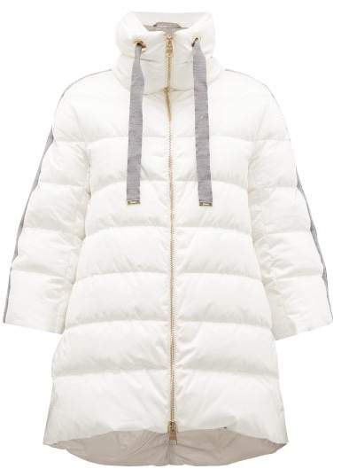 78eccf375 Contrast Panel Quilted Down Coat - Womens - Ivory Multi