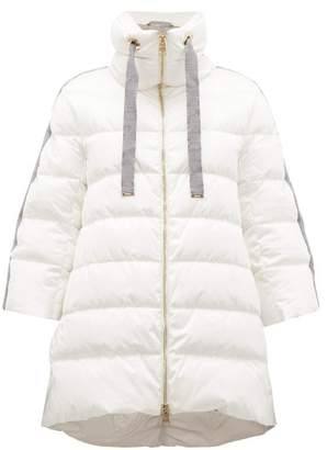 Herno Contrast-panel Quilted Down Coat - Womens - Ivory Multi