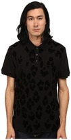 Just Cavalli Short Sleeve Pique Polo w/ Flocked Leopard