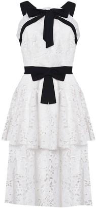 True Decadence White Black Lace Cut Work Tiered Midi Dress