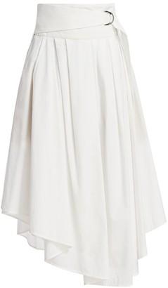 Brunello Cucinelli Belted Asymmetric Poplin Midi Skirt