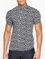 Emporio Armani All Over Eagle Logo Printed Short Sleeve Shirt - Navy