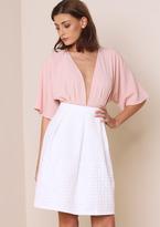 Missy Empire Mia White Geometric Print Hem Midi Skirt