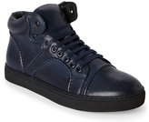zanzara Navy Vinyl Piped Mid Sneakers