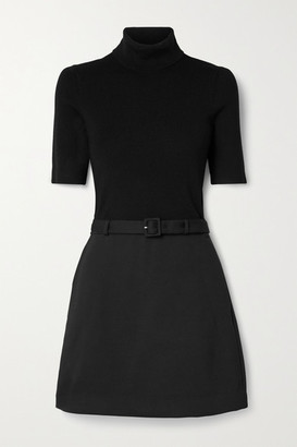 Theory Belted Ribbed Merino Wool-blend And Twill Turtleneck Mini Dress - Black
