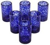 Handmade Handblown Recycled Juice Glasses (Set of 6), 'Marine'