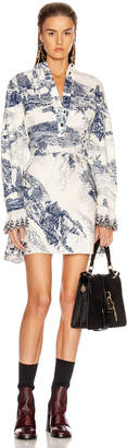 Chloé Long Sleeve Print Mini Dress in White & Blue | FWRD