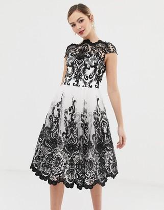Chi Chi London premium lace midi prom dress with bardot neck in mono-Multi