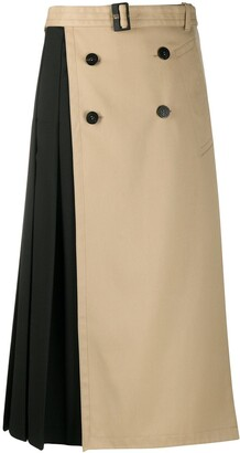 Neil Barrett Two-Tone Belted Skirt