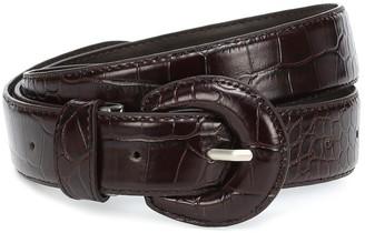 Low Classic Croc-effect leather belt