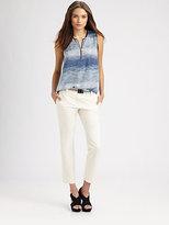 L'Agence Leather-Trim Silk Blouse
