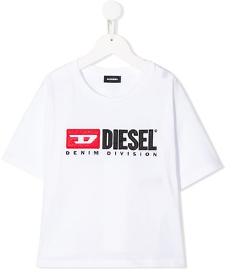 Diesel embroidered logo patch round neck T-shirt
