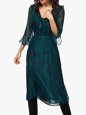 Brora Silk Chiffon Paisley Dress, Kingfisher & Navy