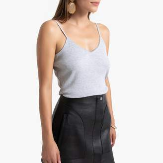 La Redoute Collections Cotton Cami with Trim and Adjustable Straps