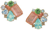 Carolee Gold-Tone Multicolor Crystal Clip-On Button Earrings