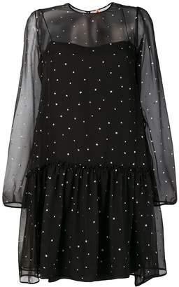 No.21 Glitter Star Sheer-Layer Dress