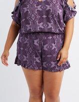 Charlotte Russe Plus Size Paisley Ruffle-Trim Shorts