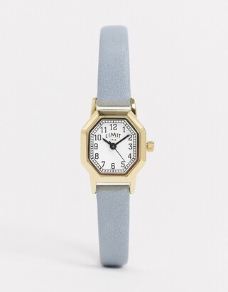 Limit faux leather watch in blue with octagonal dial