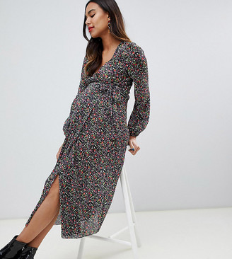 ASOS DESIGN Maternity floral print plisse wrap maxi dress