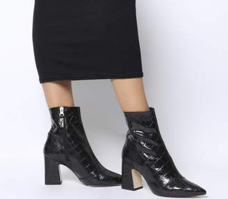 Office Alto Pointed Block Heels Black Croc Leather
