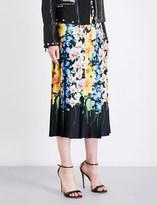 Gucci Floral pleated silk-satin skirt