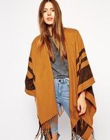 ASOS Stripe Blanket Cape - Tobacco