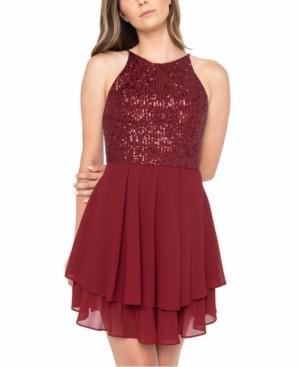 B. Darlin Juniors' Sequinned Halter A-Line Dress
