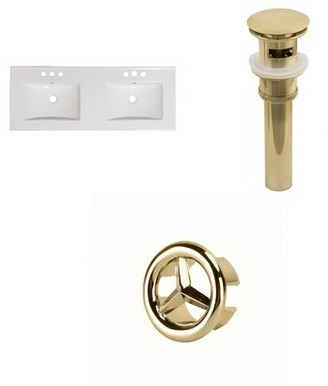 "American Imaginations Xena Ceramic 59"" Single Bathroom Vanity Top Faucet Mount: 8"" Centers, Overflow cap color: Gold, Drain Color: Gold"
