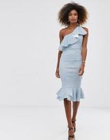 Asos Design DESIGN ruffle one shoulder midi dress with grosgrain straps in polka dot