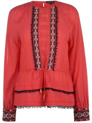 Biba Peplum Embroidered Blouse