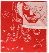 Alexander McQueen graffiti oversized skull scarf