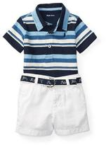 Ralph Lauren Striped Polo w/ Twill Shorts, Blue, Size 6-24 Months