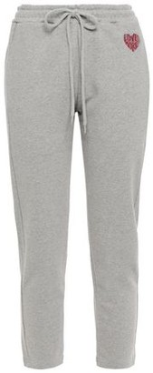 Markus Lupfer Daria Appliqued Cropped French Cotton-terry Track Pants