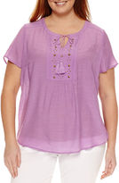 Liz Claiborne Short Sleeve Flutter Sleeve Solid Peasant Top Plus